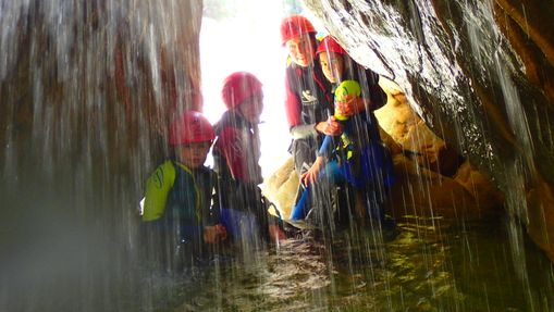 Canyoning cave in Sierra de Guara