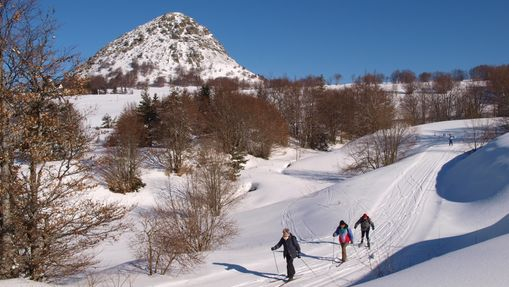 Skieurs sur des pistes de ski de fond