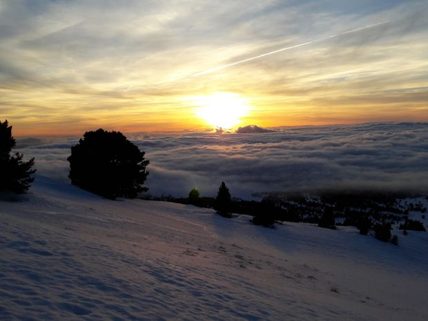 vercors brume coucher soleil