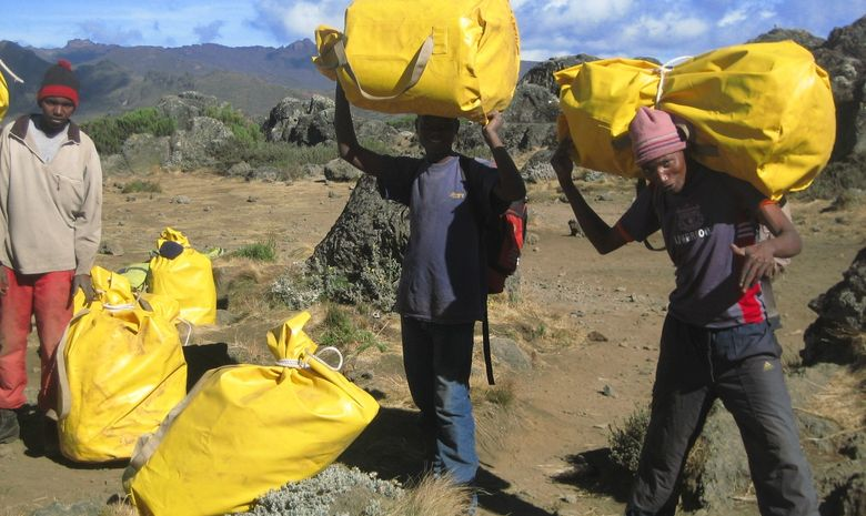 Porteurs tanzaniens avec sacs sur le dos