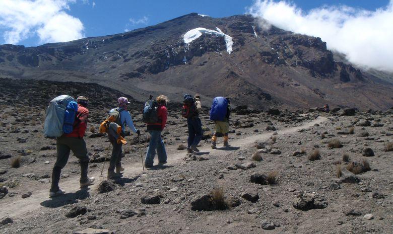 Groupe de trekkeurs sur le Kilimandjaro