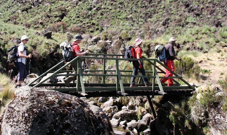 Trekkeurs traversant un pont en bois