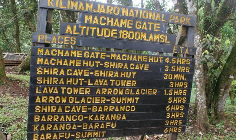 Panneau indiquant l'entrée de la voie Machame