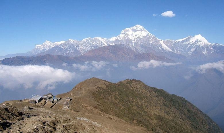 Vue sur le Dhaulagiri depuis le lodge de Khopra