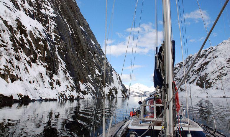Notre voilier Leatsa dans les Fjords