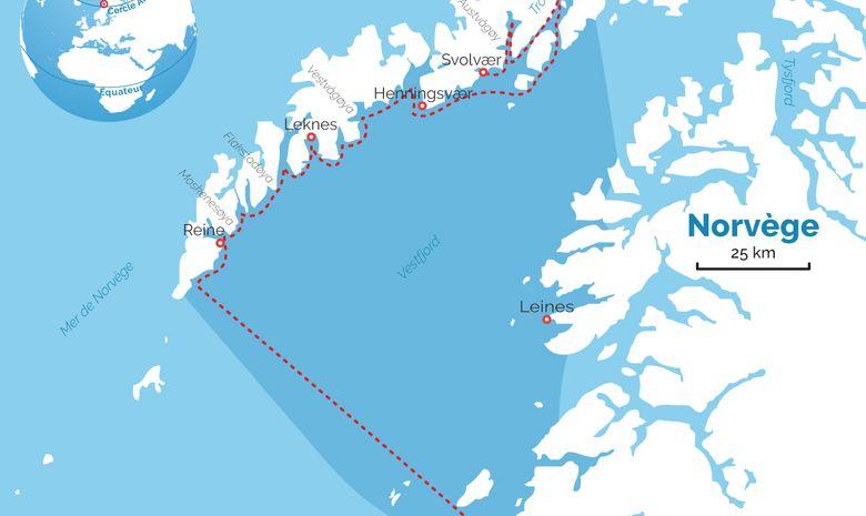 Carte du séjour Raquettes & Voile dans les Lofoten